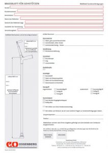 Measurement form for forearm crutches