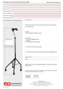 Measurement form four walking aid