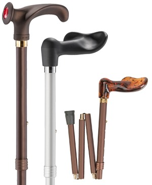 Foldable travel walking sticks with anatomical grip & Fischer grip - 100 kg