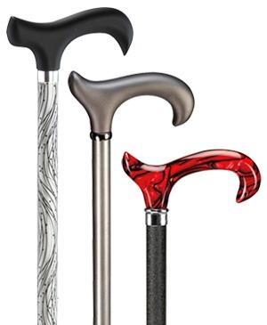 Exclusive light metal walking sticks with Derby grip - 100 kg