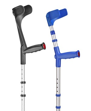 Forearm crutches with shock absorber